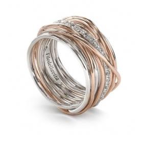 Anello Filodellavita a tredici fili in argento, oro rosa e diamanti