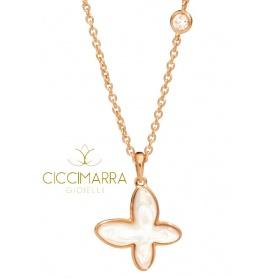Mimì FreeVola Schmetterling Halskette in Roségold, Perlmutt und Diamant