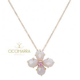 Collana Mimì Bloom a fiore in oro con Agata grigia e Zaffiro rosa
