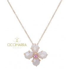 Mimì Bloom flower necklace in gold with gray Agate and pink Sapphire