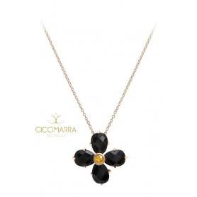 Collana Mimì Bloom a fiore in oro con Ossidiana nera e Zaffiro giallo