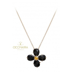 Mimì Bloom flower necklace in gold with black Obsidian and yellow Sapphire