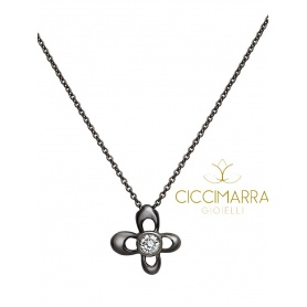 Mimì Y-ME butterfly necklace in black gold with diamond
