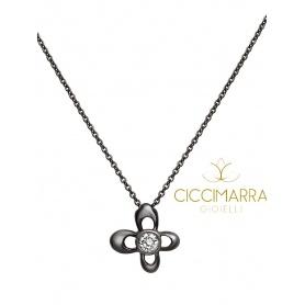 Mimì Y-ME Schmetterling Halskette in Schwarzgold mit Diamant