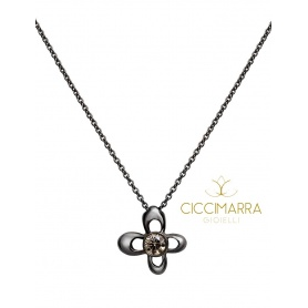 Mimì Y-ME butterfly necklace in black gold with brown diamond