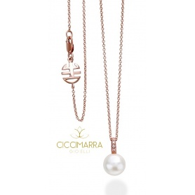 Necklace rose gold White Pearl and Mimi Happy Diamonds