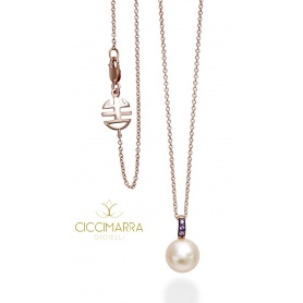 Rose gold Pink Pearl Necklace Mimi Happy and sapphires