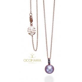 Halskette rose gold Perle lila und Mimi glücklich Saphire