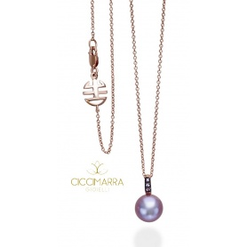 Necklace rose gold Pearl purple and Mimi Happy Sapphires