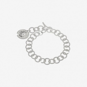 Rebecca Lion collection, silver chain bracelet with coin