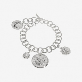 Rebecca Lion collection, rhodium-plated silver Charms bracelet