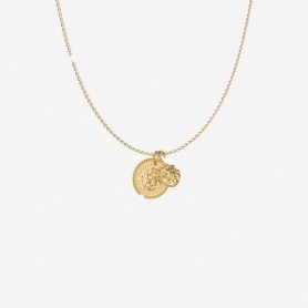 Rebecca Lion collection, pendant necklace, golden coin