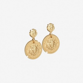Rebecca Lion collection, golden silver dangle earrings