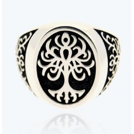 Tree of Life Ring, chevalier, large in silver - 1A-ADV