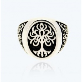 Tree of Life Ring, chevalier, medium silver   - 2A-ADV
