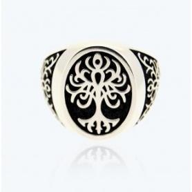 Tree of Life Ring, chevalier, medium silver - 2A-ADV