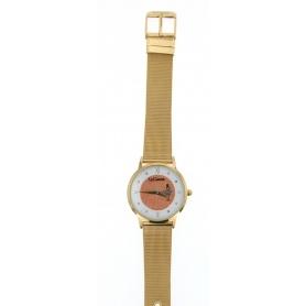 Le Carose watch, Porto wild, golden Milanese knit strap- SILM03