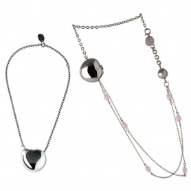 Breil Bloom long necklace, heart pendant in steel and pink agate - TJ0913