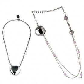 Collanna Breil Bloom pendente cuore in acciaio e agata rosa lunga - TJ0913