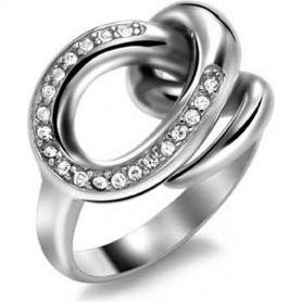 Breil Knot woman ring, knot with zircons in polished steel - TJ1131