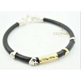 Misani Grand Tour jewelery, bracelet in leather, gold and silver B2006