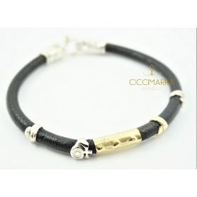 Misani Grand Tour Schmuck, Armband aus Leder, Gold und Silber B2006