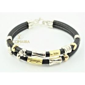 Breacciale Misani gioielli con doppio filo di cuoio, oro ed argento - B2001