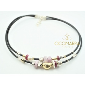 Misani Jewelry necklace Accents in leather with gold, silver, ruby and kunzite