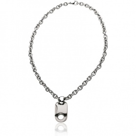 Breil Tribe Navy necklace, round chain with satin pendant