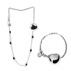 Breil Bloom necklace or bracelet, woman, steel heart, black onyx, choker