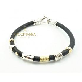 Misani jewelery, bracelet Grand Tour in leather, gold and silver B712
