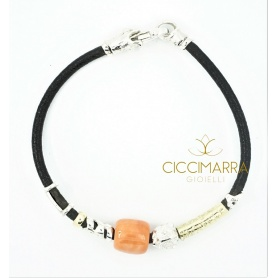 Misani jewelry bracelet Accents in leather with gold, silver and coral
