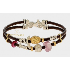 Misani jewelry bracelet Accents in leather with gold, silver, ruby and kunzite
