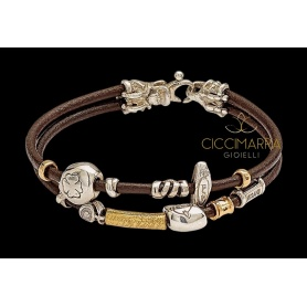 Misani jewelry bracelet with double thin wire, gold and silver - B2009