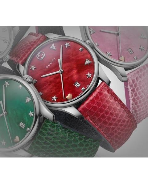 e818c937747 Gucci G-Timeless Slim red Quartz mother of Pearl-YA126584