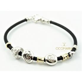 Misani Armband Leder mit Silbernuggets und Gold B2008