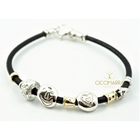 Misani bracelet leather with silver nuggets and gold B2008