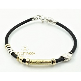 Misani bracelet in leather with tubular gold and silver B2007