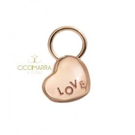 Microciondolo cuore in oro rosa Civita by Queriot con scritta LOVE