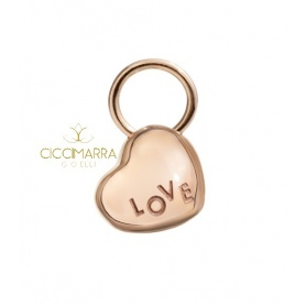 Micro heart pendant in rose gold Civita of Queriot with LOVE inscription