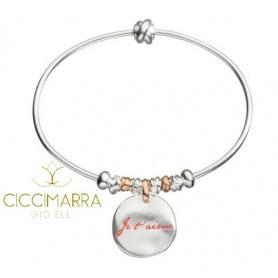Bracciale rigido Civita Queriot Je T'Aime con Moneta piccola e beads