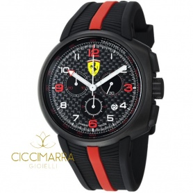 Scuderia Ferrari Fast Lap Uhr aus schwarzem Stahl und Gummi