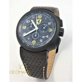 Scuderia Ferrari Formula1 Classic watch in black steel and leather