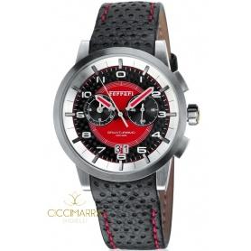 Orologio Scuderia Ferrari Granturismo nero e rosso in acciaio e pelle