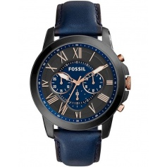 Fossil men's watch, in blue leather, Grant