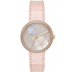 Michael Kors Courtney watch with rhinestones, flowers and pink leather