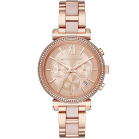 Michael Kors Sofie watch in rosé steel and pink acetate
