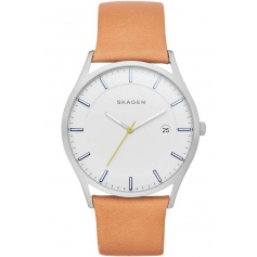 Skagen watch, man, only time, Holst in leather