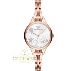 Emporio Armani watch, woman, rosé with flowers - AR11108