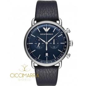 Orologio Emporio Armani uomo cronografo pelle blu